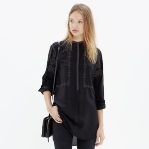 Madewell Black Embroidered Ballad Tunic Popover